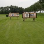 Een gedeelte van de schietbaan van handboogvereniging Nocht en Wille.