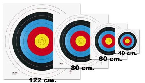 Afbeelding waarop de verschillende formaten recurve blazoenen worden afgebeeld.